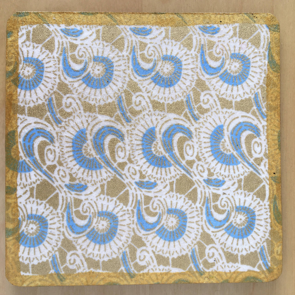 Blue drinks coasters handmade with Japanese washi paper