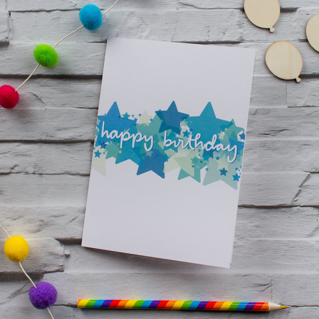 Blue and green Birthday stars card