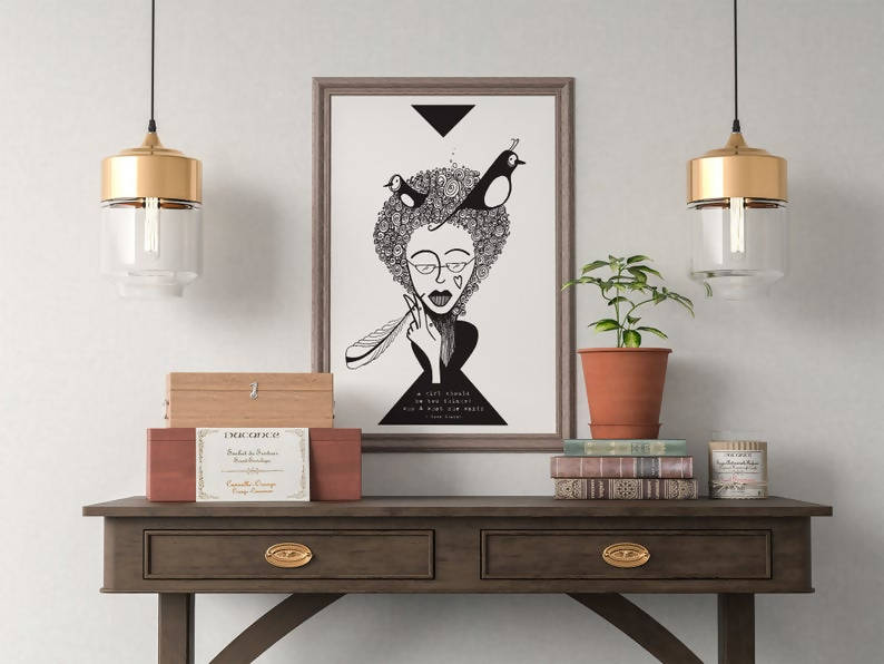 Woman & Birds Art Print