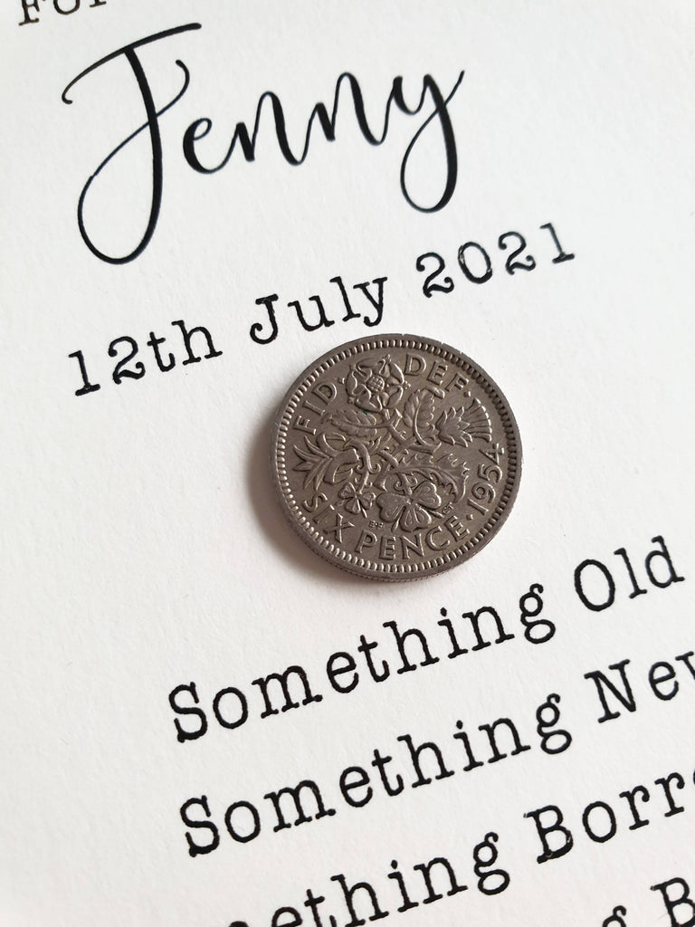 Lucky Sixpence Gift for Bride - Personalised