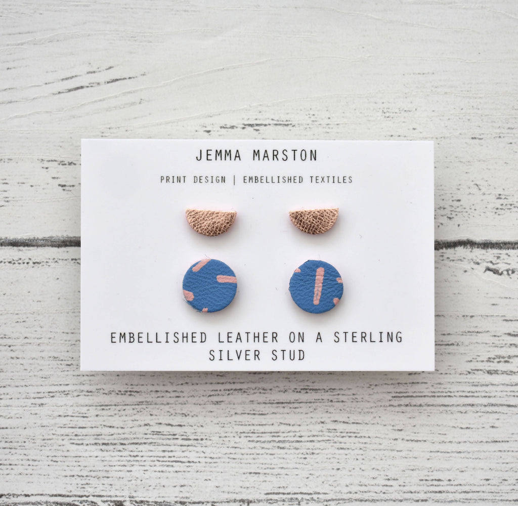2 Set of Leather Studs - Mini Stud & Half Moon Stud