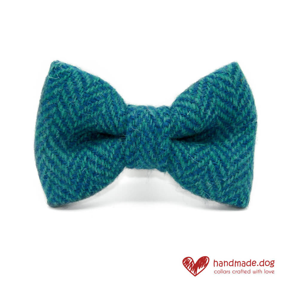 Turquoise and Green Herringbone 'Harris Tweed' Dog Bow Tie