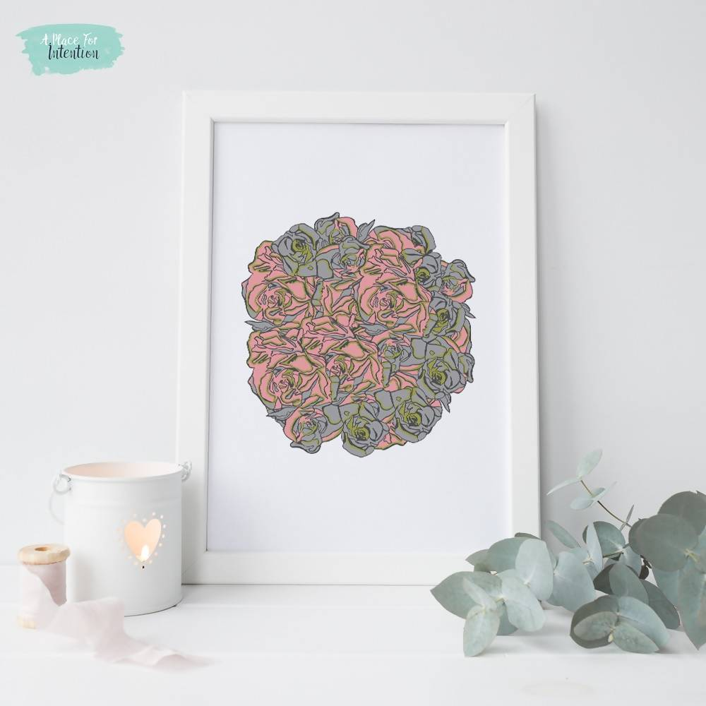 Bouquet Illustration Art Print