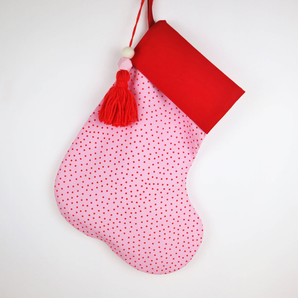 Personalised Pink and Red Spot Christmas Stocking