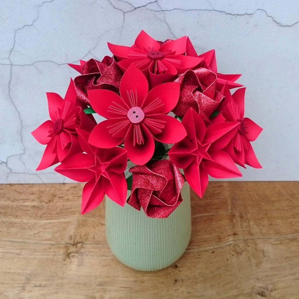 Red origami paper flower bouquet