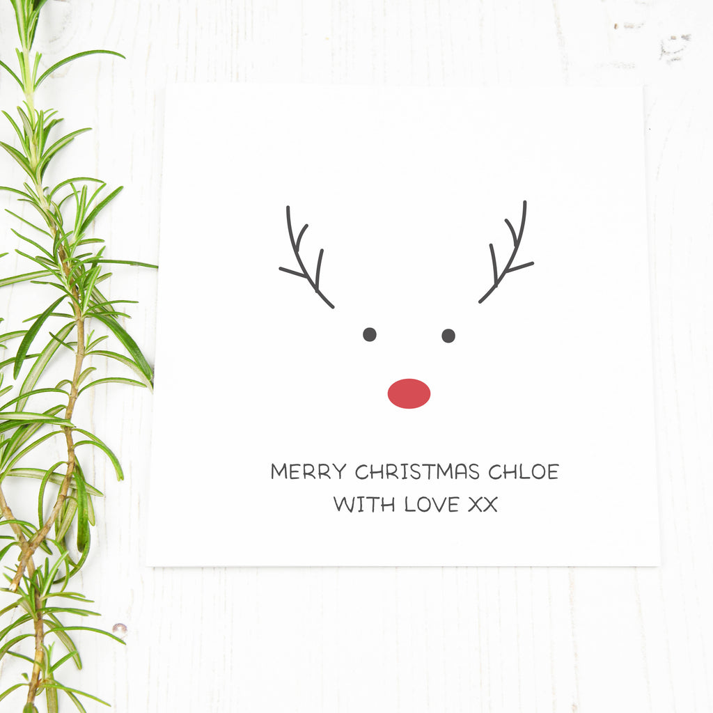 Personalised Rudolph The Red Nose Reindeer Christmas Card