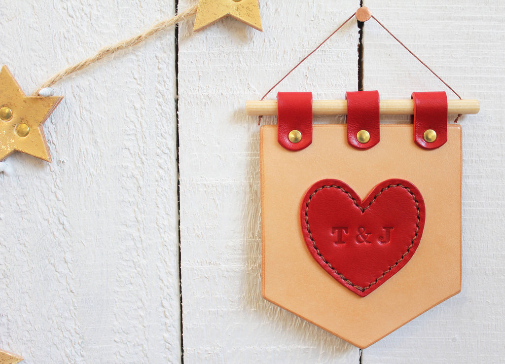 Miniature personalised leather heart pennant