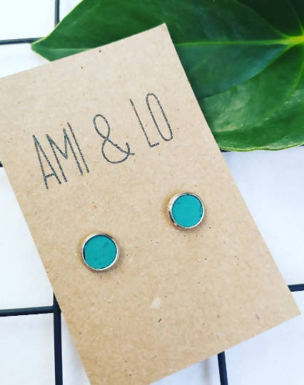 Turquoise cork leather stainless steel studs, Ami and Lo, Andsotoshop