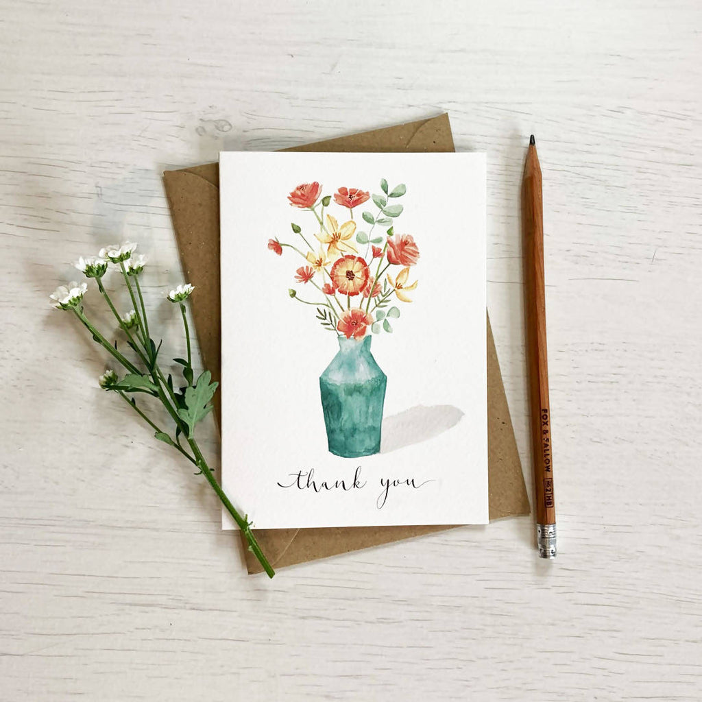 Flower Vase Thank you Card