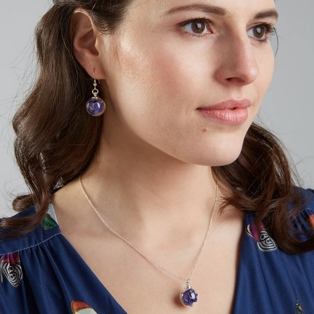 Real Flower Earrings in Midnight Blue with Sterling Silver Short Drops
