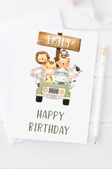 Personalised childrens birthday card | personalised jungle birthday card | kids safari birthday | personalised happy birthday card