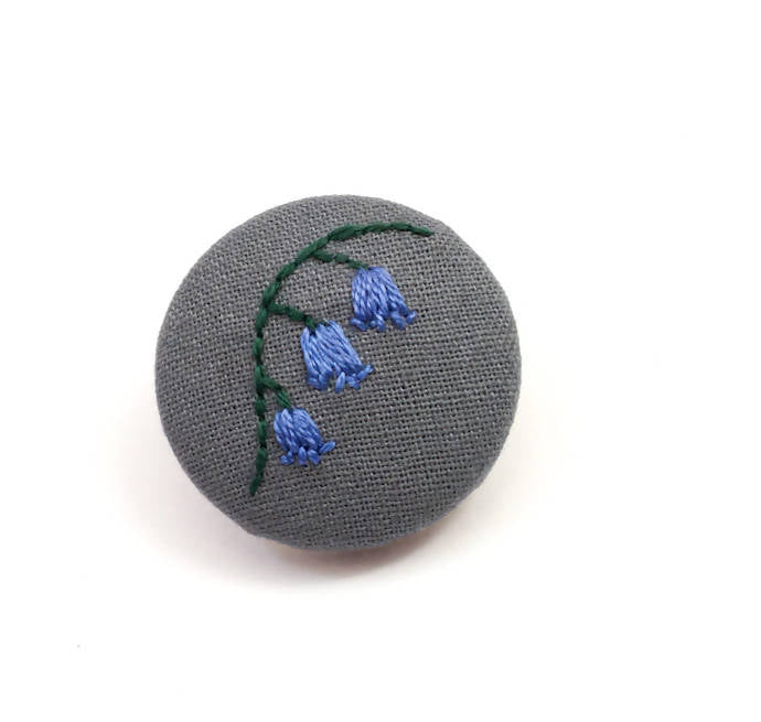 Embroidered Bluebell Brooch