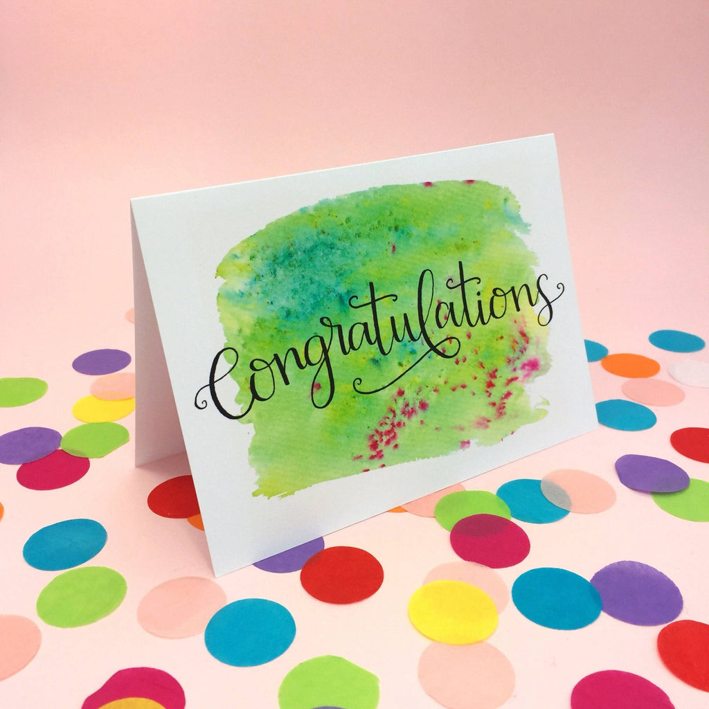 'Congratulations' Inky Hand Lettered Card - 1, 5 or 10 pack