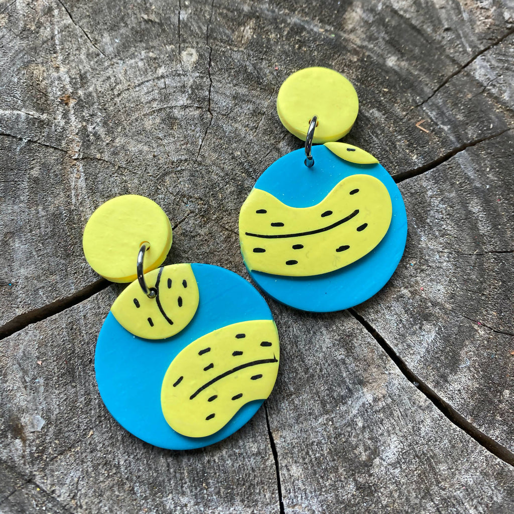 Banana Pattern Polymer Clay Earrings