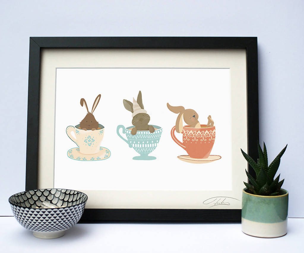 Illustrated Nursery Print Rabbits in Teacups
