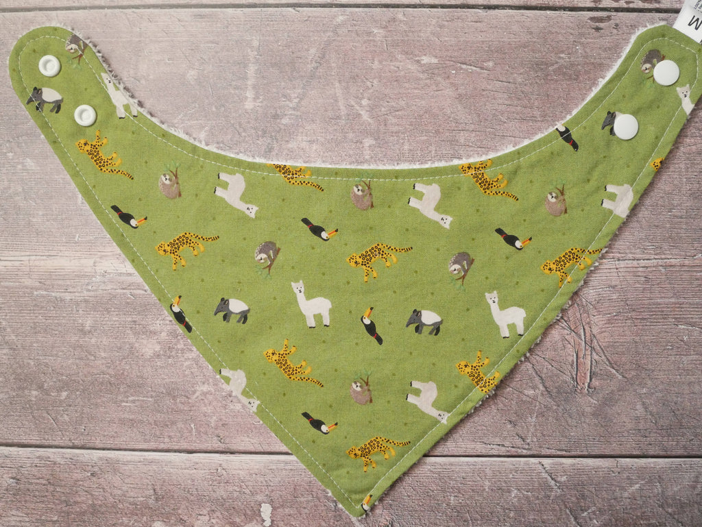 South American animals themed bamboo baby bib