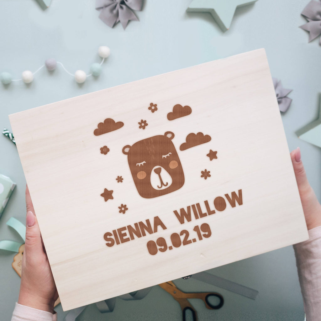 New Baby Wooden Memory Box with Bear and Clouds