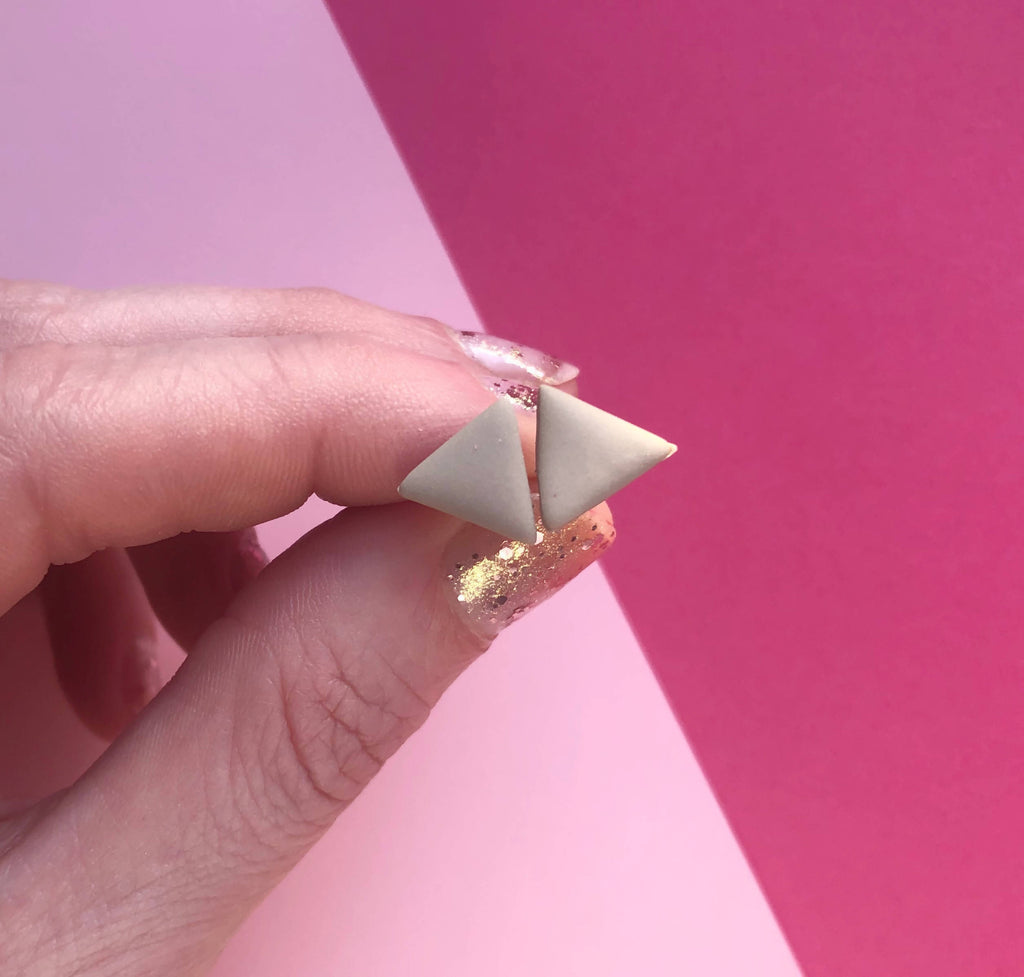 Taupe triangle clay earrings