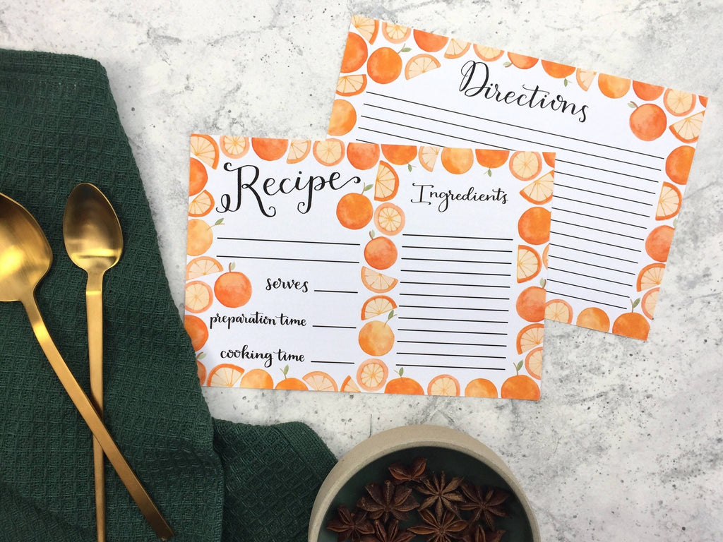 Set of Recipe Cards illustrated with Oranges