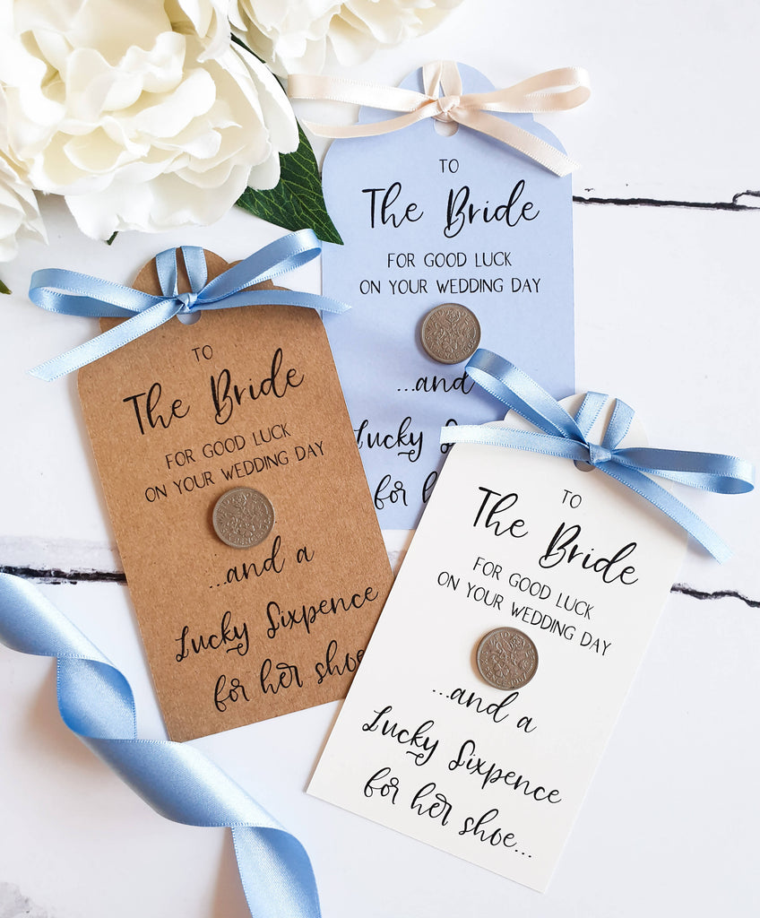 Lucky Sixpence Gift Tag for Bride