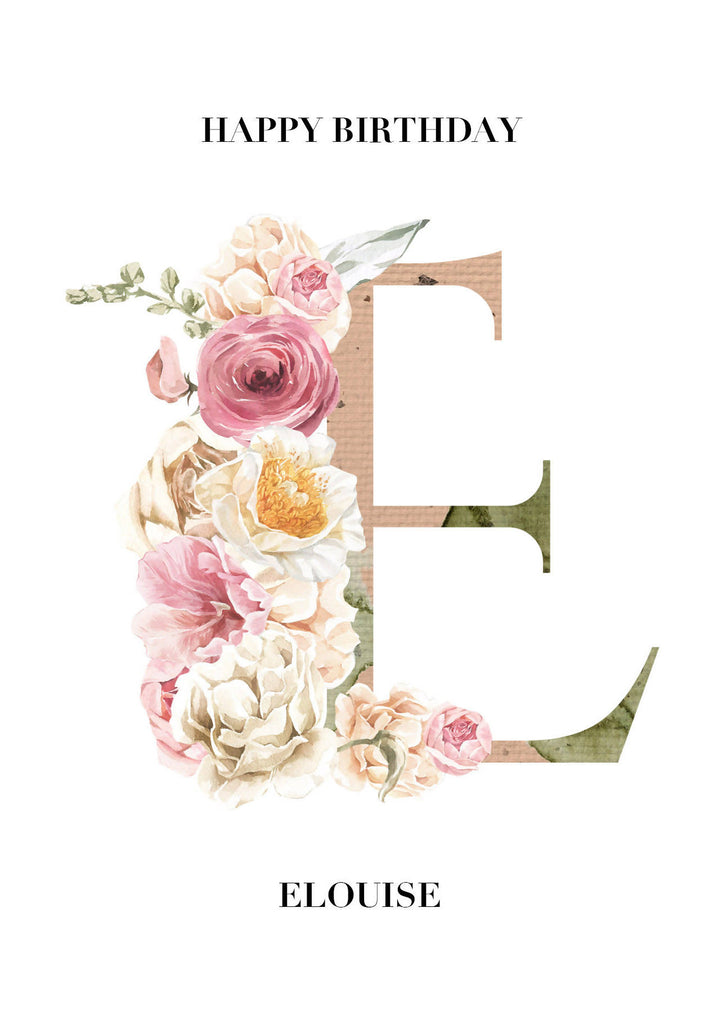 Floral Initial Birthday Card - Personalised - Eco-Friendly