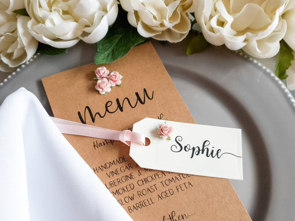 Wedding Place Cards in Cream, Blush Pink, Lilac, Pale Blue. Mini Tag Place Names