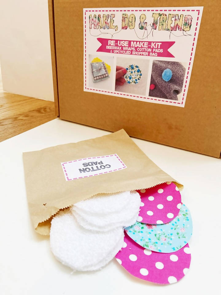 'Re-use' Eco DIY Kit- beeswax wraps, cotton pads & upcycled shopper bag