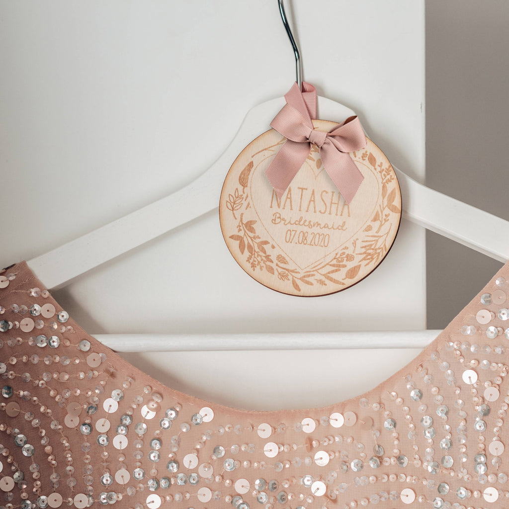 DIY Bridal Hanger Wooden Tag with Floral and Heart Design