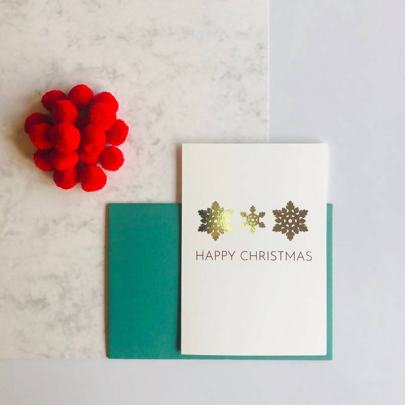 Single or Packs of Snowflake Charity Foiled Christmas Cards