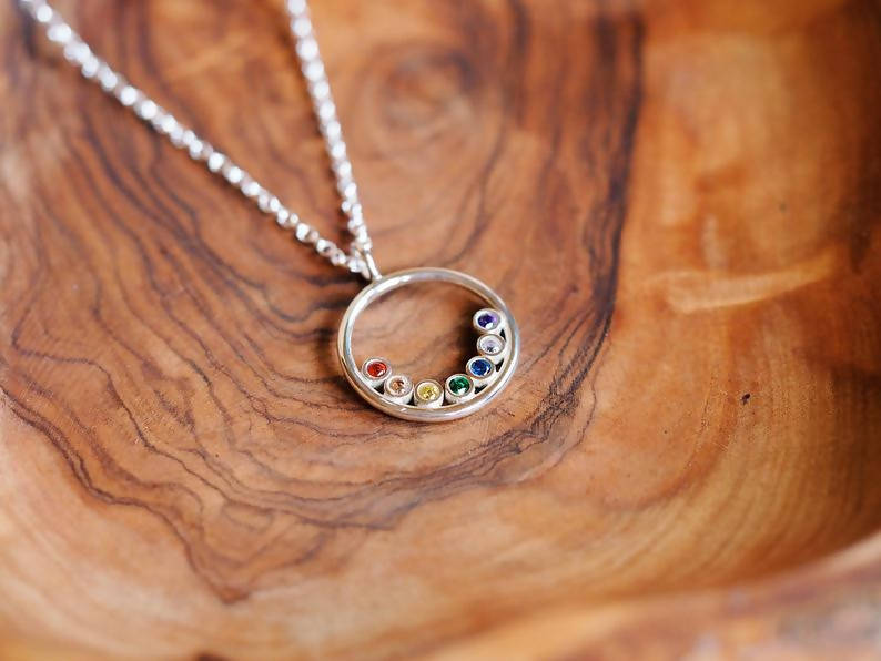 Sterling Silver Rainbow Halo Necklace