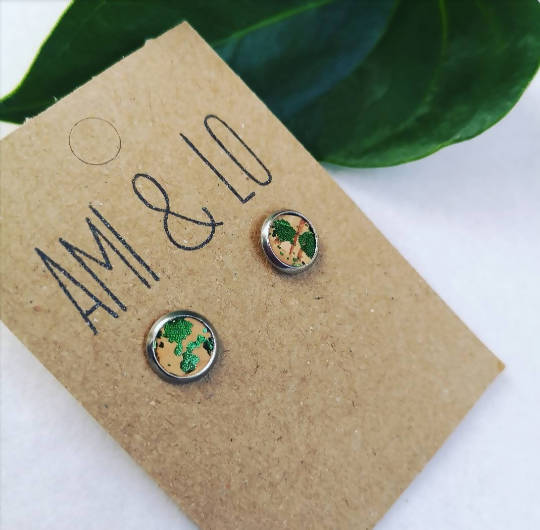 Green cork leather stainless steel studs, Ami and Lo, Andsotoshop