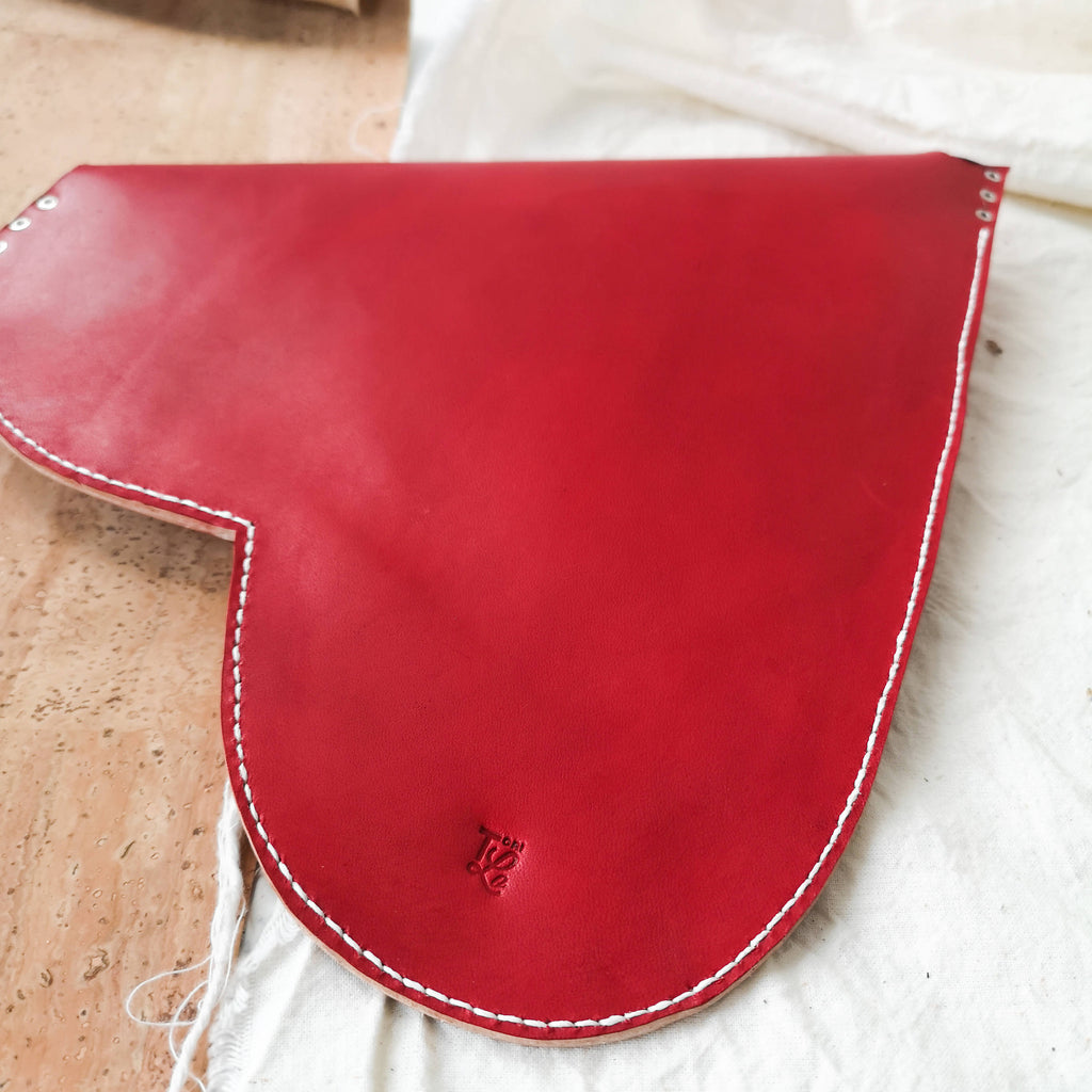 Large Leather Heart Clutch