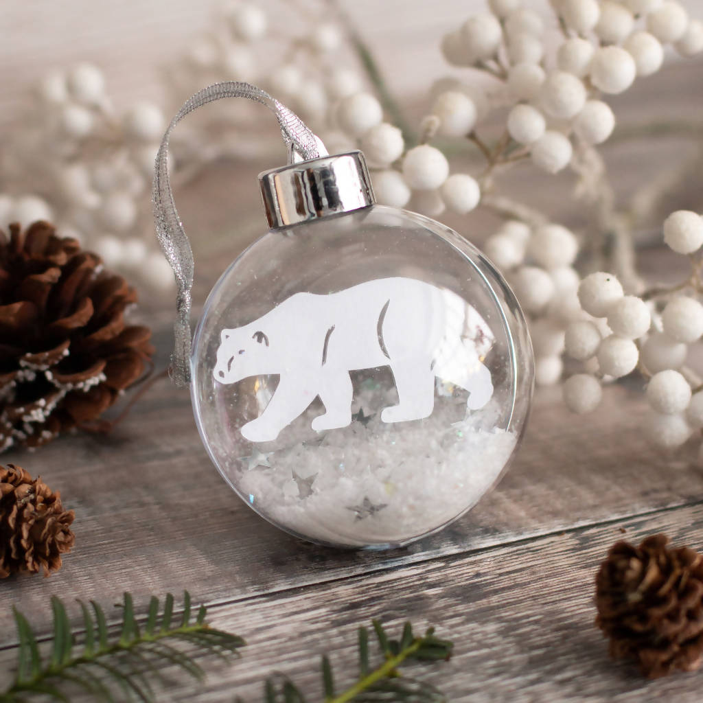 Polar Bear Paper Cut Christmas Bauble