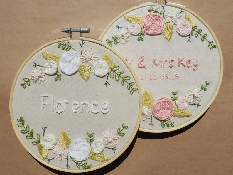 Floral Customisable Name Embroidery DIY Kit
