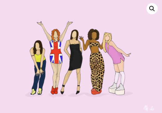 Spice Girls Iconic Music Hand Illustrated Print (A5, A4 & A3 Available)