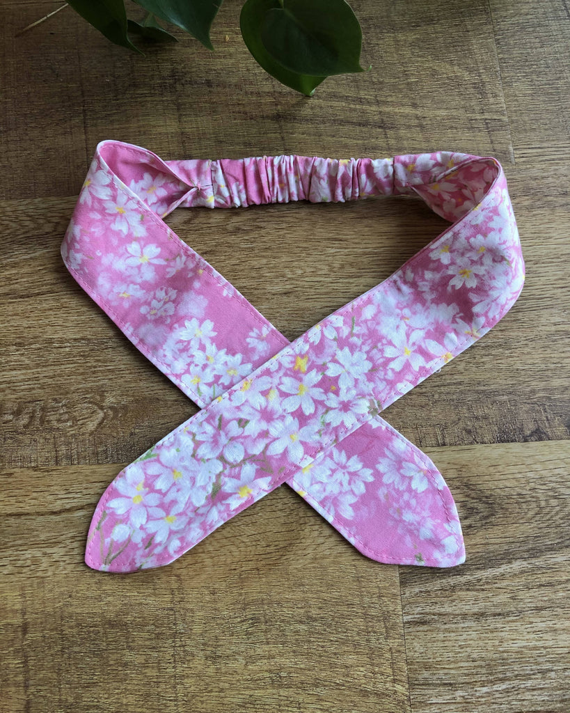 Tie headband, pink with white blossom pattern