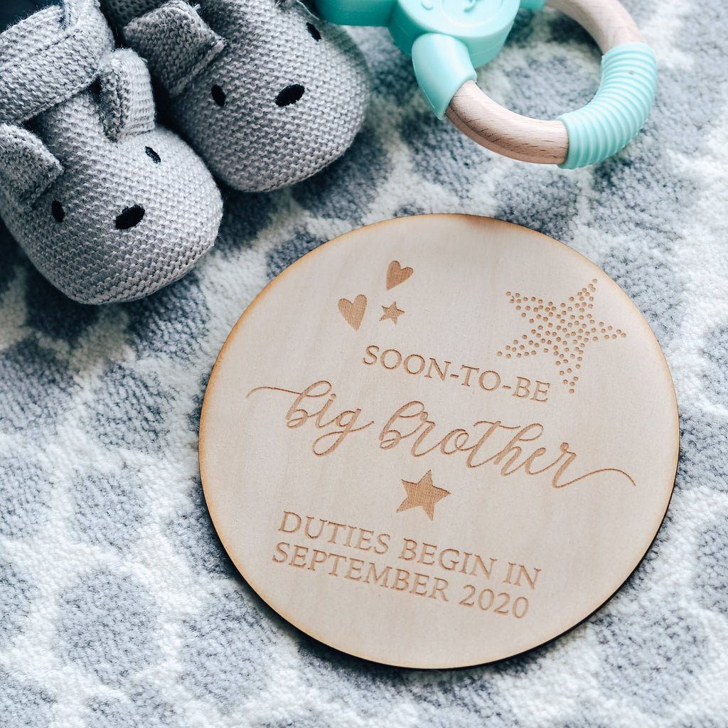 'Soon to be Big Brother' Pregnancy Announcement Wooden Keepsake Plaque