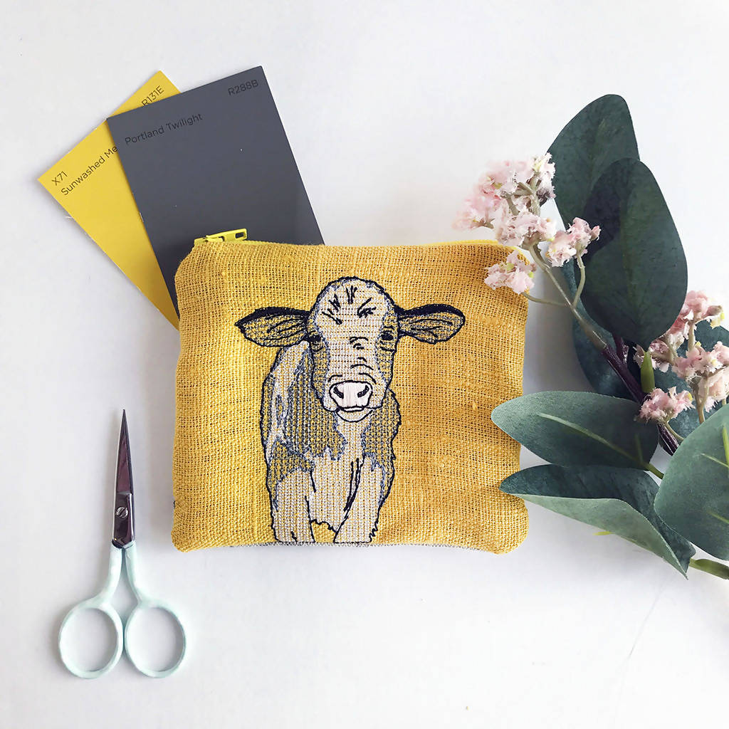 Mustard Yellow Embroidered Cow Purse