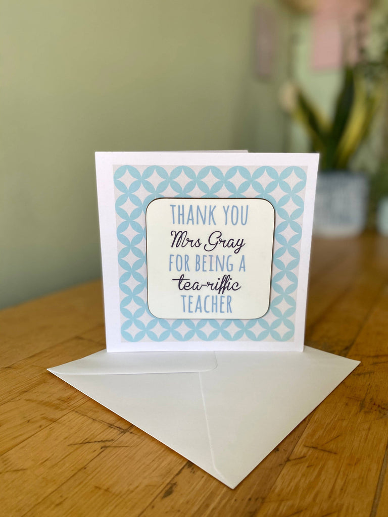 Personalised Coaster Cards Teacher