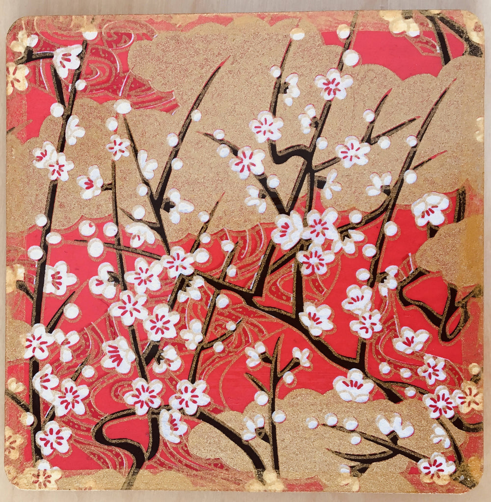 Red drinks coasters handmade with Japanese washi paper