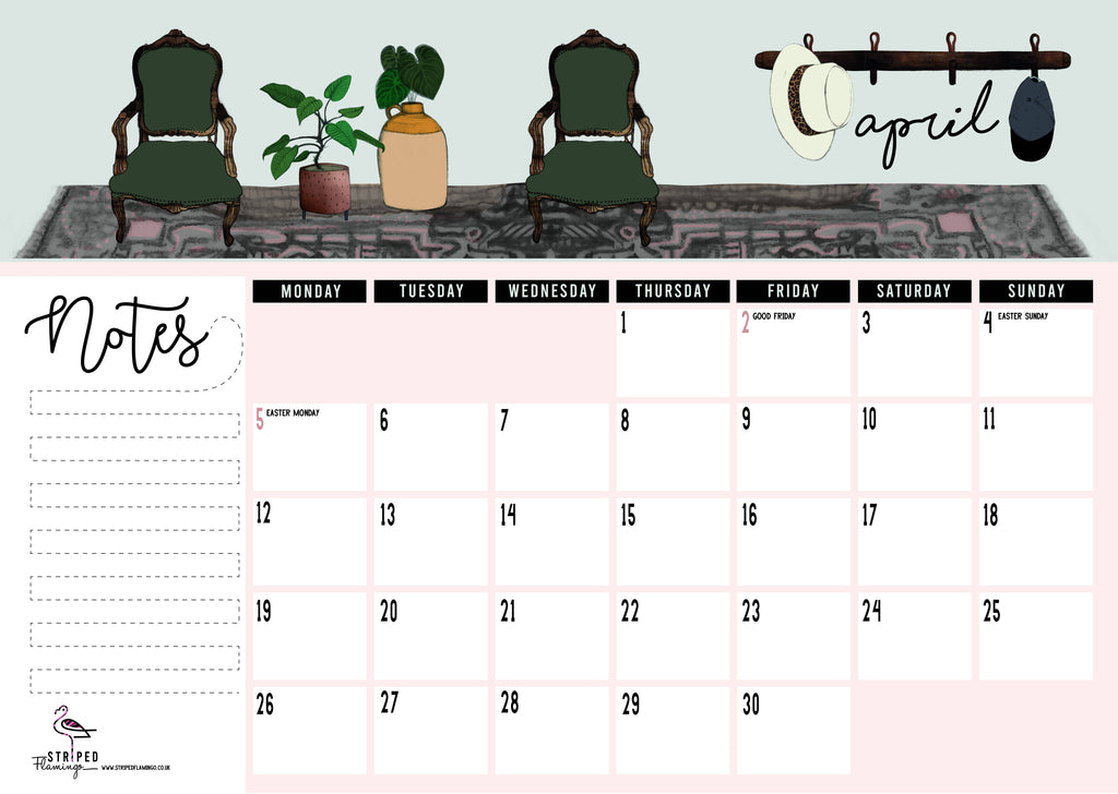 Illustrated 2021 Monthly Calendar Pad