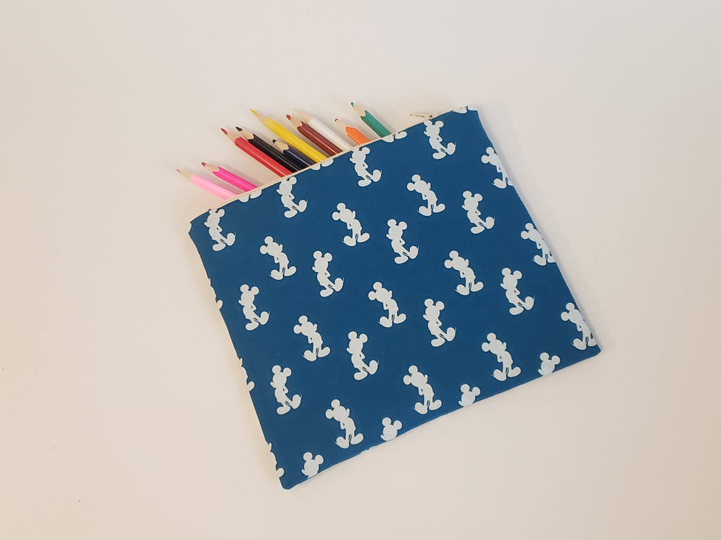 Flat Zipper Pouch - Blue/White Silhouette Mickey