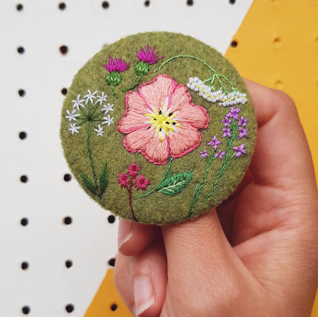 wild flowers embroidered badge