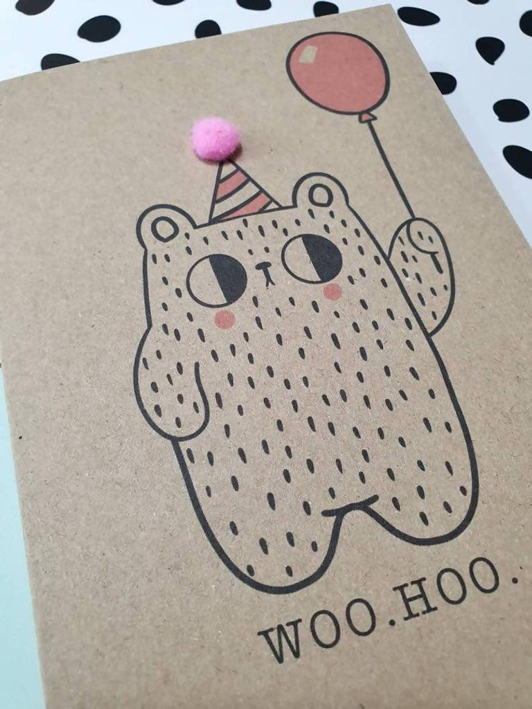Happy birthday balloon bear card with pom pom hat