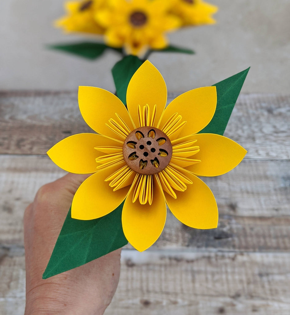 close up of paper sunflower
