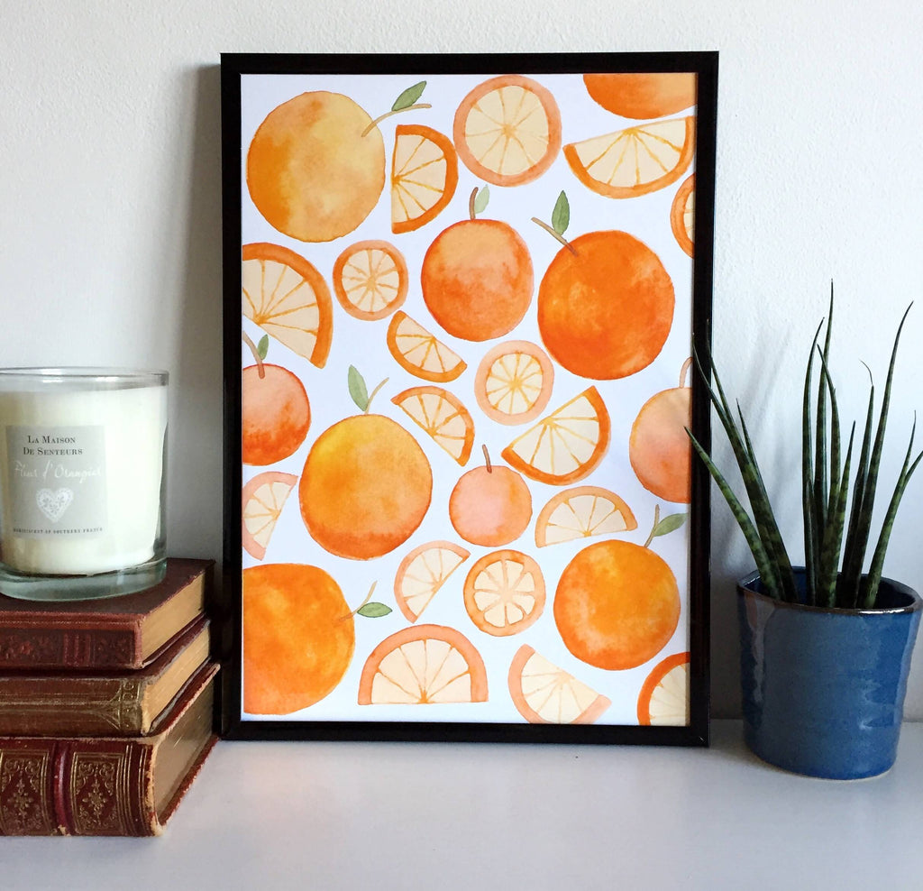 Watercolour Oranges Artwork Print - Available in A5/A4/A3