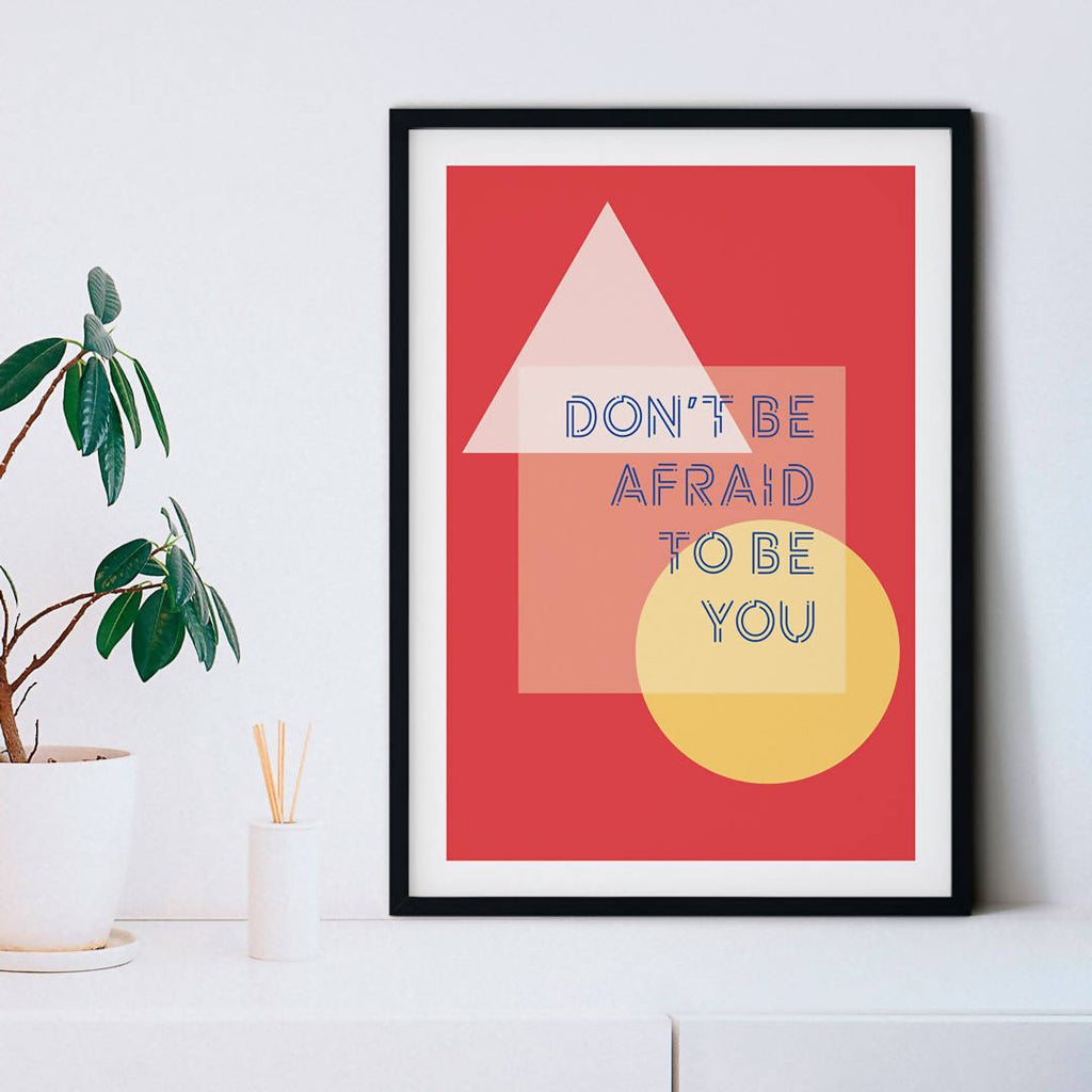Motivational quote wall art, 'Don't be afraid to be you' Inspirational Empowering Print, Positive wall art, Positive Affirmation – Red background