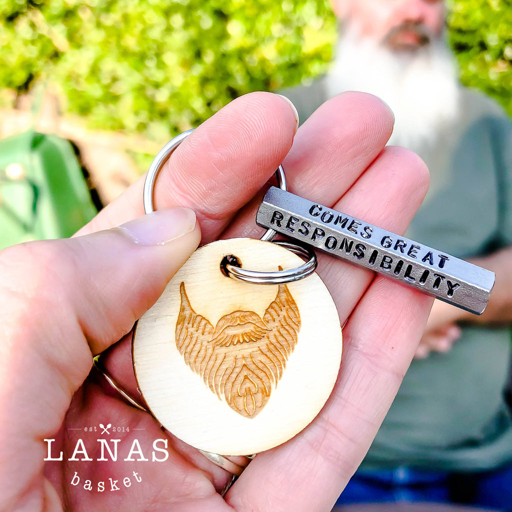 With Great Beard Comes Great Responsibility | Key ring