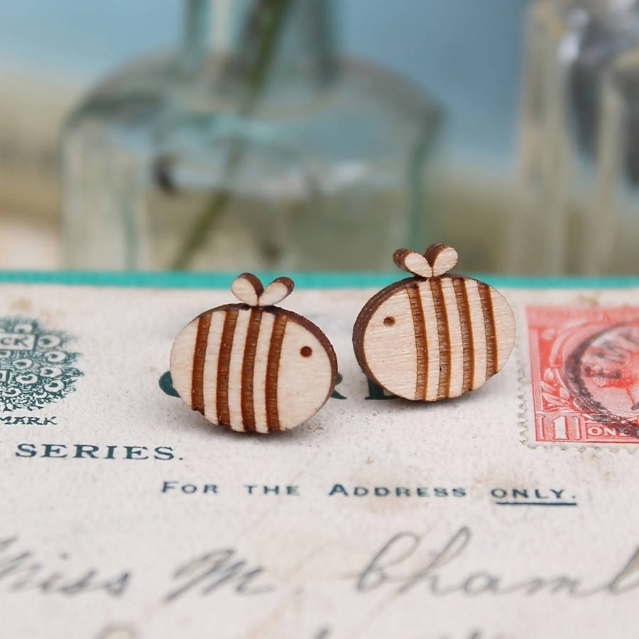Wooden Laser Cut Bumble Bee Earrings-Ginger Pickle