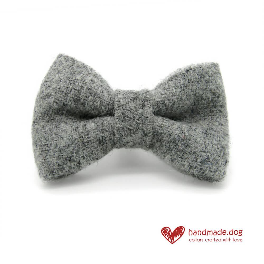 Soft Grey 'Harris Tweed' Dog Bow Tie